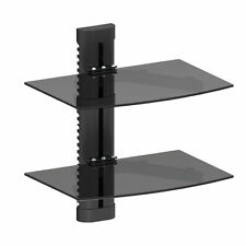 Black Glass DVD Shelves Shelf 2 Tiers for SKY Box Player LCD LED TV Wall Bracket