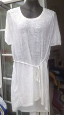 H&M WHITE SHEER PAISLEY PATTERN SHORT DRESS OR DRESS TOP - SIZE L