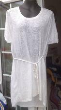 H&M WHITE SHEER PAISLEY PATTERN SHORT DRESS OR DRESS TOP - SIZE L