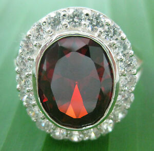 """REAL 925 sterling silver (14.85gr) CZ RED """"SOLID & STRONG"""" ring Big size -UNISEX"""