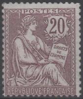"FRANCE STAMP TIMBRE N° 126 "" MOUCHON RETOUCHE 20c BRUN-LILAS 1902 "" NEUF xx TB"