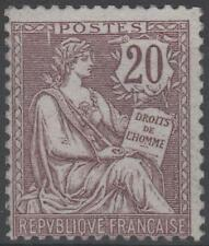 "FRANCE STAMP TIMBRE N° 126 "" MOUCHON RETOUCHE 20c BRUN-LILAS 1902 "" NEUF xx TB"