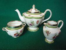 Crescent Teapot Set silver rimmed
