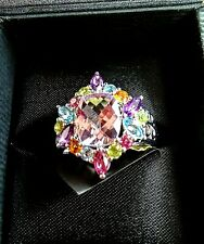 Amethyst 3.4ct Pink Amethyst & Multi Gemstone Ring Sterling Silver