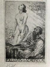 Bruno HEROUX 1868-1944 Leipzig exlibris Erotic Nude Etching Radierung C3