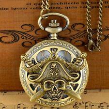 Pirate Steampunk Golden Dial Quartz Pocket Watch Necklace Pendant Xmas Gift Idea