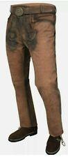 Trachtenlederhosen lang braun mit Gürtel Herren Lang Lederhose Gr.44-60