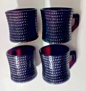 Vintage Hobnail Maroon Red Glass Coffee Cups Mugs Set Of 4 Rare