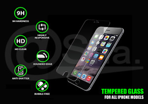 Tempered Glass Screen Protector For iPhone 6, 6s, 7, 8, X, Plus - CRYSTAL CLEAR