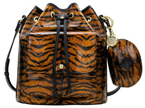 $269 Patricia Nash Sabina Tooled Leather Bucket Drawstring Bag w/Pouch,Tiger NWT