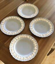 "4 Wedgwood Queensware Cream on Lavender Shell Edge 8 1/4"" Salad  Plates"