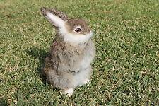 Grey Gray Rabbit Easter Bunny Furry Animal Taxidermy Figurine plush Decor Cabin