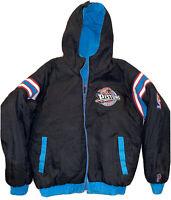 Vintage 90s PRO PLAYER NBA Detroit Pistons Reversible Jacket Black Teal Youth XL