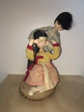 vintage asian dolls attached to wood Stand Boy And Girl