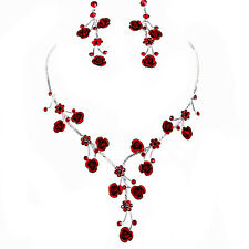 Faceted Metal Rose & Crystal Rhinestone Necklace & Earring set  Bridal prom