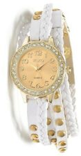 XOXO Watch Women's Gold Face w/Silver Rhinestones Braided White Laced XO5603 New