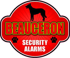 "Beauceron Security Alarms 5"" X 6"" Die-Cut Protection Alarm Dog Sticker"