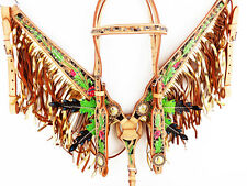 GOLD WESTERN LEATHER BLING FRINGE BRIDLE HEADSTALL BREASTCOLLAR HORSE TACK SET