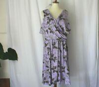 Lands End plus sz 1X purple floral fit and flare wrap knee length dress stretch