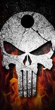 Single- Cornhole Board- Bag Toss wrap - Vinyl- Flaming Punisher Skull
