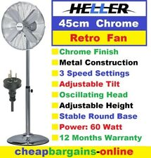 HELLER 45cm PEDESTAL FAN RETRO CHROME FAN ADJUSTABLE HEIGHT 3 Speed Oscillating