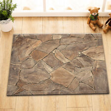 Kitchen Bathroom Non-Slip Shower Bath Door Mat Rug Broken Slate Marble Texture