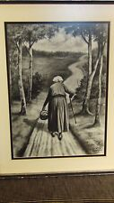 INAWALD KARLSON LISTED DUTCH NETHERLAND ARTIST ORIGINAL CHARCOAL PAINTING,SIGNED