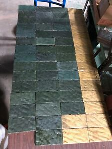 """AETCO tiles 62 Grueby colors matt green and mustard fire place hearth tiles 3x6"""""""