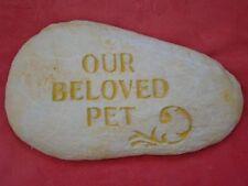 OUR BELOVED PET MEMORIAL ROCK STONE CONCRETE GARDEN STATUE ORNAMENT