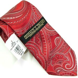 NWT DONALD J TRUMP Signature Collection Men's Necktie SILK Red Paisley NEW