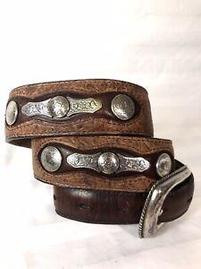 Resistol Brown Genuine Leather Embossed Belt Western Silver Embellished  33/80