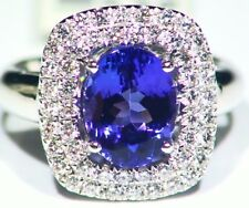 3.97CT 14K Gold Natural Tanzanite Diamond Vintage AAAA Engagement Ring Designer