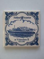Holland America SS Volendam II 1972-1984 Ceramic Tile Coaster Square Trivet