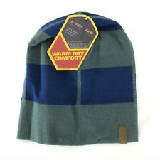 Seirus Beanie Hat Warm Dry Comfort Striped Blue Gray Unisex One Size