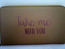 """CARAMEL """"TAKE ME WITH YOU"""" DOCUMENT WALLET FOR TICKET CREDIT CARD CASH PASSPORT"""