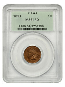 1891 1c PCGS MS64 RD (OGH) Old Green Label Holder - Indian Cent