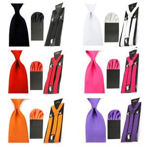 Men's Solid 8cm Tie With Handkerchief Pocket Square Braces Suspender Set SET54