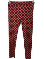 Lularoe leggings One size stretch orange black diamond pattern S M L pants