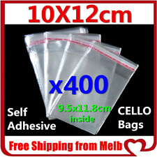 400x Cello Bag 10x12cm Cellophane Clear Resealable Plastic Self Seal Adhesive