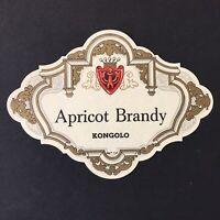 Liquor Label Kongolo Apricot Brandy Vintage Collectible  Paper