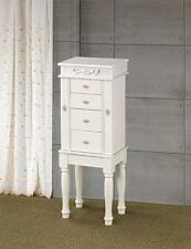 "MATTE WHITE JEWELRY BOX ARMOIRE WITH PINK ROSETTE HARDWARE 35""H"