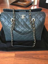 NWT Authentic Chanel Large Tote Bag in Black Suede Leather