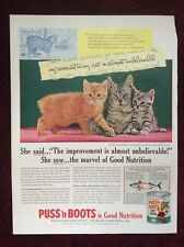 1955 Vintage Magazine Ad ~ Puss 'n Boots Cat Food ~ Manx Cat & Kittens