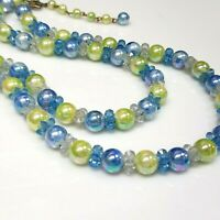 Vintage Multi Two Strand Luster lucite Bead Choker Collar Necklace Blue Green