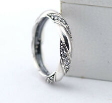 TWISTED RIBBON STACKABLE 925 Sterling Silver Solid European Dress Ring