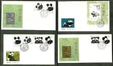 CHINA 1985 GIANT PANDAS SET 4 x FDC WITH GOLD & SILVER  PLATED REPLICA
