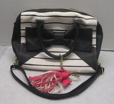 Bestey Johnson Purse Black Bow and White Striped Hot Pink Tassel