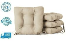 New 4pc Tan Chair Cushion Seat Outdoor Patio Furniture Pad Ties Chair Pad Set