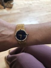 Piaget Ladies Watch Circa 1970's. Gold Band, Blue Lapis Face and Diamond Bezel.