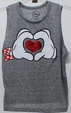 Disney Womens Juniors Mickey & Minnie Mouse Hands Red Heart T Shirt Size Small